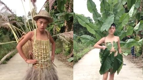 Image result for vietnamese boys dress up in leaves