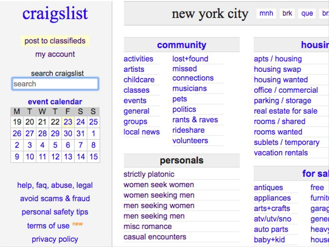 craigslist personals terms