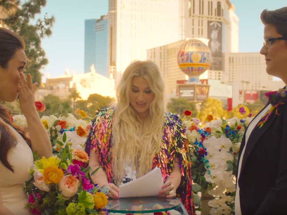 Kesha Officiates A Real Lesbian Wedding In Her Music Video For I Need A Woman To Love Me