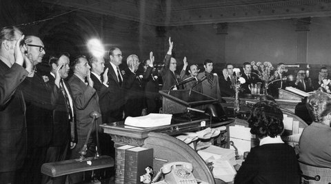 JAN 6 1971, JAN 7 1971; Seventeen members of the State Senate, some of them new, many of them re-?elected to new four-year terms, take the oath of office Wednesday from Justice Donald E. Kelley of the State Supreme Court (not shown). Chief Justice Edward Pringle swore in the 65 House members.;  (Photo By Dave Buresh/The Denver Post via Getty Images)