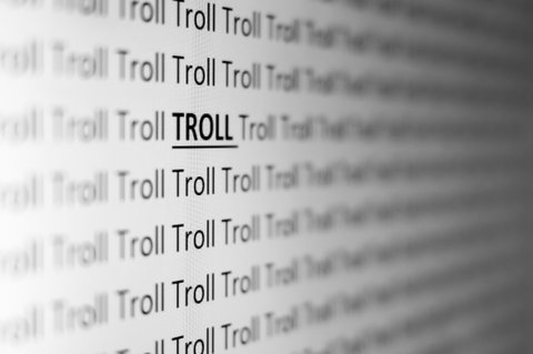 A pattern of the word 'TROLL' is shown from a side perspective. The picture symbolizes cyber bullies and internet trolls.