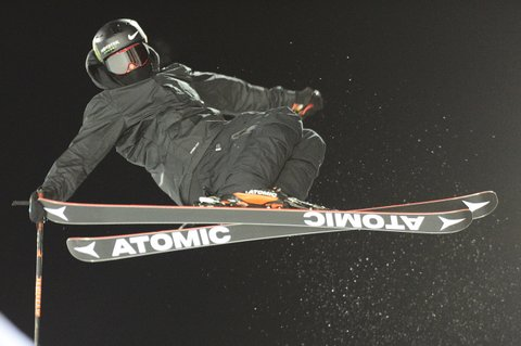 ASPEN, CO - JANUARY 27: Gus Kenworthy catches some air during practice runs at Buttermilk Mountain on January 27, 2016 in Aspen, Colorado. (Photo by Brent Lewis/The Denver Post via Getty Images)