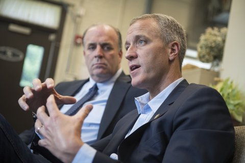 UNITED STATES - JUNE 11: Reps. Sean Patrick Maloney, D-N.Y., right, and Dan Kildee, D-Mich., talk with the media in the Newburgh, N.Y., Water Department, June 11, 2016, about water contamination in Lake Washington. (Photo By Tom Williams/CQ Roll Call)