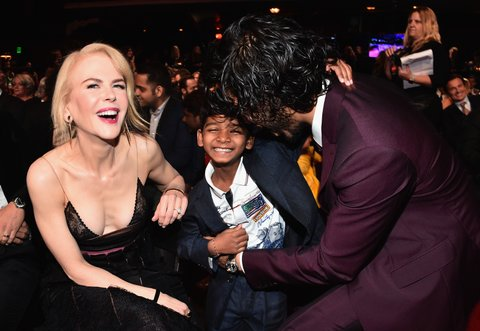 LOS ANGELES, CA - JANUARY 06:  Actors Nicole Kidman, Sunny Pawar and Dev Patel attend the 6th Annual AACTA International Awards at Avalon Hollywood on January 6, 2017 in Los Angeles, California.  (Photo by Alberto E. Rodriguez/Getty Images)