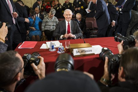 WASHINGTON, USA - JANUARY 10:  Senator Jeff Sessions testifies in front of the Senate Judiciary Committee during their first hearing to examine whether or not they will confirm President-elect Donald Trumps nomination of Sessions to Attorney General at the U.S. Capitol in Washington, USA on January 10, 2017. (Photo by Samuel Corum/Anadolu Agency/Getty Images)