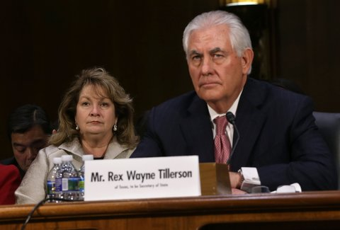 WASHINGTON, DC - JANUARY 11:  Renda Tillerson (L) listens during the confirmation hearing for her husband and former ExxonMobil CEO Rex Tillerson (R), U.S. President-elect Donald Trump's nominee for Secretary of State, before Senate Foreign Relations Committee January 11, 2017 on Capitol Hill in Washington, DC. Tillerson is expected to face tough questions regarding his ties with Russian President Vladimir Putin.  (Photo by Alex Wong/Getty Images)