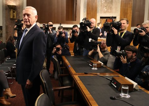 WASHINGTON, DC - JANUARY 12:  Defense Secretary nominee retired Marine Corps Gen. James Mattis arrives at his Senate Armed Services Committee confirmation hearing on Capitol Hill, on January 12, 2017 in Washington, DC. Gen. Mattis will need a waiver from Congress to bypass a law prohibiting recently retired military officers from serving as Defense secretary.  (Photo by Mark Wilson/Getty Images)