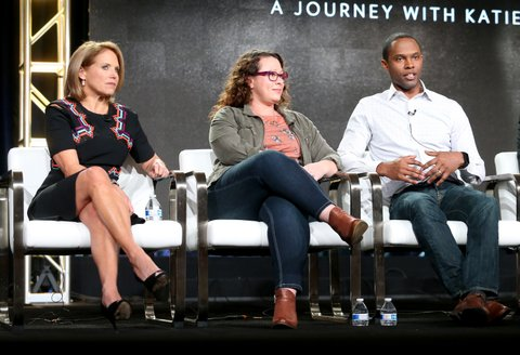PASADENA, CA - JANUARY 13:  (L-R) Host Katie Couric, Vanessa Ford and JR Ford of the series 'Gender Revolution: A Journey With Katie Couric' speak onstage during the National Geographic portion of the 2017 Winter Television Critics Association Press Tour at the Langham Hotel on January 13, 2017 in Pasadena, California.  (Photo by Frederick M. Brown/Getty Images)