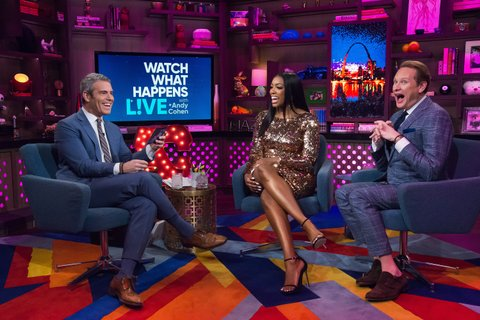 WATCH WHAT HAPPENS LIVE WITH ANDY COHEN -- Pictured (l-r): Andy Cohen, Porsha Williams and Carson Kressley -- (Photo by: Charles Sykes/Bravo/NBCU Photo Bank via Getty Images)