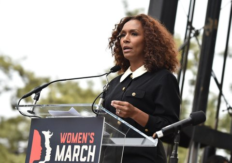 WASHINGTON, DC - JANUARY 21:  Janet Mock speaks onstage at the Women's March on Washington on January 21, 2017 in Washington, DC.  (Photo by Theo Wargo/Getty Images)
