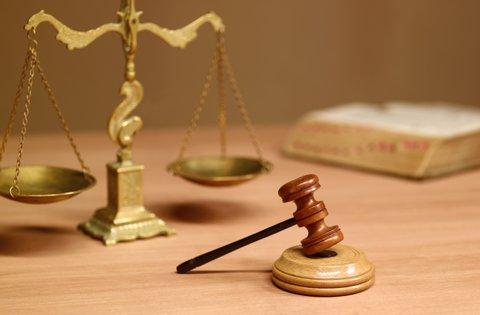 Judges desk in court room