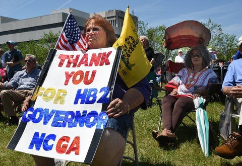 Lee Churchill shows her support of HB2 during a rally on Halifax Mall behind the North Carolina General Assembly building in Raleigh, N.C., on Monday, April 25, 2016. (Chuck Liddy/Raleigh News & Observer/TNS via Getty Images)