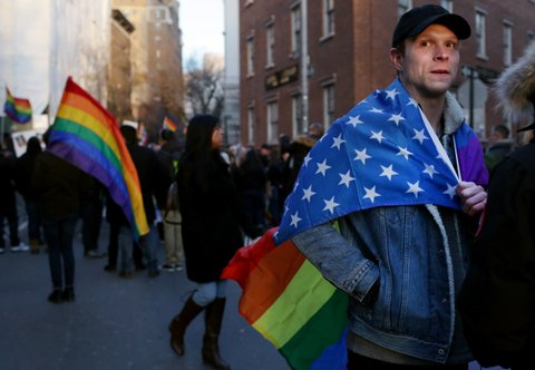 NEW YORK - FEBRUARY 04: Crowds disperse following an LGBT Solidarity Rally in protest of the Donald Trump Administration in front of Stonewall Inn on February 04, 2017 in New York City. (Photo by Yana Paskova/Getty Images)