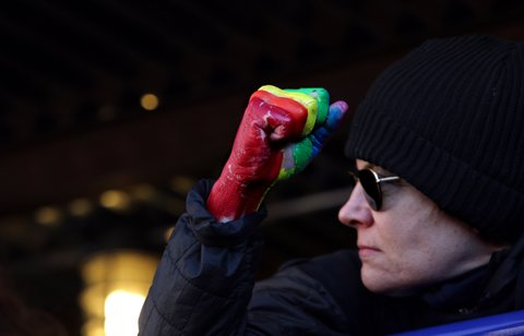 NEW YORK - FEBRUARY 04: Crowds gather for an LGBT Solidarity Rally in protest of the Donald Trump Administration in front of Stonewall Inn on February 04, 2017 in New York City. (Photo by Yana Paskova/Getty Images)