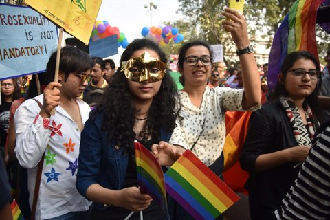 GUWAHATI, INDIA - FEBRUARY 05: Indian members and supporters of the lesbian, gay, bisexual, transgender (LGBT) community hold placards during a Pride Walk on February 05, 2017 in Guwahati, India.  Marching in solidarity and in celebration of their diversity, the LGBT community demanded equal legal, social and medical rights. PHOTOGRAPH BY Anuwar Hazarika/Barcroft Images London-T:+44 207 033 1031 E:hello@barcroftmedia.com - New York-T:+1 212 796 2458 E:hello@barcroftusa.com - New Delhi-T:+91 11 4053 2429 E:hello@barcroftindia.com www.barcroftimages.com (Photo credit should read Anuwar Hazarika/Barcroft Images / Barcroft Media via Getty Images)