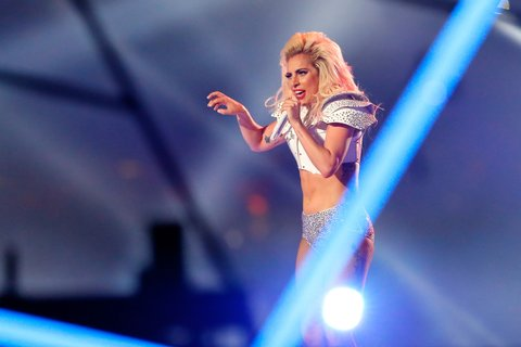 HOUSTON, TX - FEBRUARY 05: Lady Gaga performs during the Pepsi Zero Sugar Super Bowl 51 Halftime Show at NRG Stadium on February 5, 2017 in Houston, Texas.  (Photo by Kevin C. Cox/Getty Images)