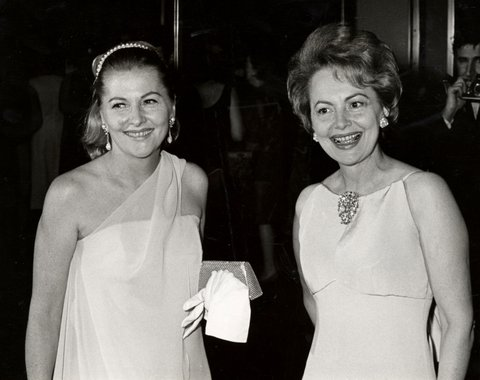 Joan Fontaine and sister Olivia de Havilland during Marlene Dietrich's Opening Party - September 9, 1967 at Rainbow Room in New York City, NY, United States. (Photo by Ron Galella/WireImage)