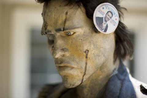 Arnold Schwarzenegger button on Terminator mannequin in the memorabilia collection of Republican strategist Frank Luntz at his house in McLean, Virginia, July 9, 2007.  (Photo by MCT/MCT via Getty Images)