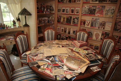 The periodical room in the memorabilia collection of Republican strategist Frank Luntz at his house in McLean, Virginia, July 9, 2007.  (Photo by MCT/MCT via Getty Images)