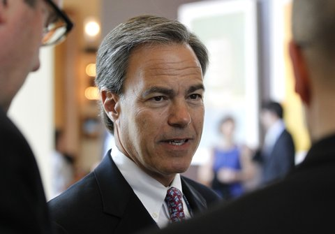 House speaker Joe Straus speaks with reporters before a luncheon near the state Republican convention, Friday, June 8, 2012, in Fort Worth, Texas. (Ron T. Ennis/Fort Worth Star-Telegram/MCT via Getty Images)