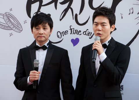 SEOUL, SOUTH KOREA - SEPTEMBER 07:  Same-sex couple Kim Jho Gwang-Soo and Kim Seung-Hwan attend their marriage press conference on September 7, 2013 in Seoul, South Korea.  (Photo by Choi Soo-Young/Multi-Bits via Getty Images)