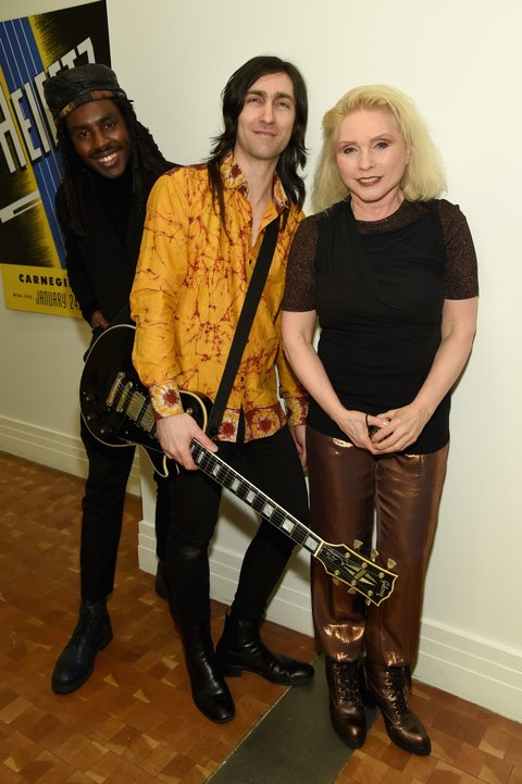 NEW YORK, NY - MARCH 05:  (L-R) Dev Hynes, Matt Katz Bohen and Debbie Harry pose backstage Carnegie Hall the Tibet House Benefit Concert 2015 on March 5, 2015 in New York City.  (Photo by Dimitrios Kambouris/Getty Images for Tibet House)