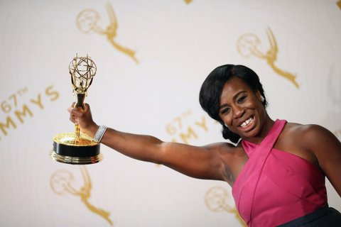 LOS ANGELES, CA - SEPTEMBER 20:  Actress Uzo Aduba, winner of the award for Outstanding Supporting Actress in a Drama Series for 'Orange Is the New Black', poses in the press room at the 67th Annual Primetime Emmy Awards at Microsoft Theater on September 20, 2015 in Los Angeles, California.  (Photo by Mark Davis/Getty Images)