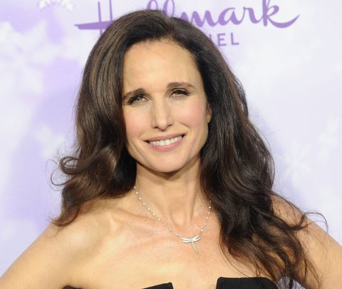 PASADENA, CA - JANUARY 08:  Actress Andie MacDowell arrives at the Hallmark Channel and Hallmark Movies and Mysteries Winter 2016 TCA Press Tour at Tournament House on January 8, 2016 in Pasadena, California.  (Photo by Gregg DeGuire/WireImage)