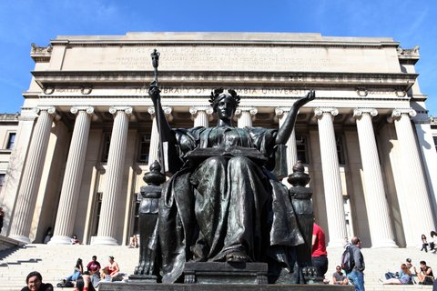 NEW YORK - APRIL 16:  Daniel Chester French's 'Alma Mater' sculpture of the Goddess Athena sits outside the Library Of Columbia University at Columbia University in New York, New York on April 16, 2016.  (Photo By Raymond Boyd/Getty Images)