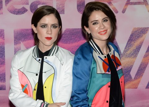 TORONTO, ON - JUNE 19:  Tegan and Sara pose in the press room at the 2016 iHeartRADIO MuchMusic Video Awards at MuchMusic HQ on June 19, 2016 in Toronto, Canada.  (Photo by Sonia Recchia/Getty Images)