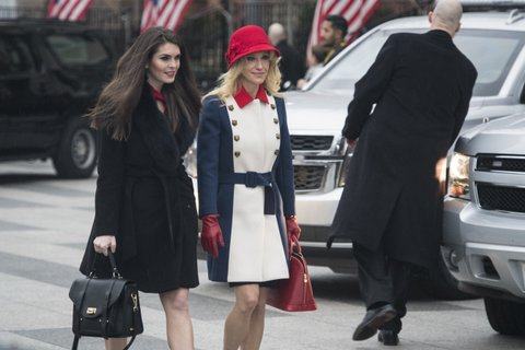 WASHINGTON, DC - JANUARY 20: Hope Hicks and Kellyanne Conway depart the Blair House as he heads to a morning worship service on Inauguration day at St. John's Episcopal Church in Washington, DC on Friday, Jan. 20, 2017. (Photo by Jabin Botsford/The Washington Post via Getty Images)
