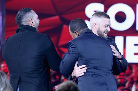 INGLEWOOD, CA - MARCH 05:  Musician Justin Timberlake (R) wins the Song of the Year award for 'Can't Stop the Feeling!' at the 2017 iHeartRadio Music Awards which broadcast live on Turner's TBS, TNT, and truTV at The Forum on March 5, 2017 in Inglewood, California.  (Photo by Jonathan Leibson/Getty Images for iHeartMedia)