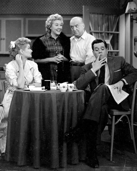 The cast of 'I Love Lucy,' 1956. From left, American actors Lucille Ball (1911 - 1989), Vivian Vance (1909 -1979), William Frawley (1887 - 1966), and Cuban-born Desi Arnaz (1917 - 1986). (Photo by CBS Photo Archive/Getty Images)