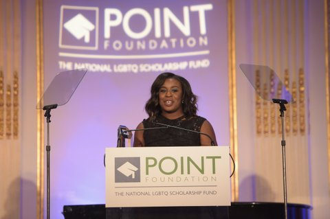 NEW YORK, NY - APRIL 03:  Honoree, actress Uzo Aduba accepts the Courage Award onstage at the Point Honors Gala at The Plaza Hotel on April 3, 2017 in New York City.  (Photo by Jason Kempin/Getty Images for Point Foundation)