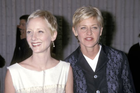 Anne Heche and Ellen DeGeneres during Six Days & Seven Nights Premiere at Avco Cinema in Westwood, California, United States. (Photo by Ron Galella/WireImage)