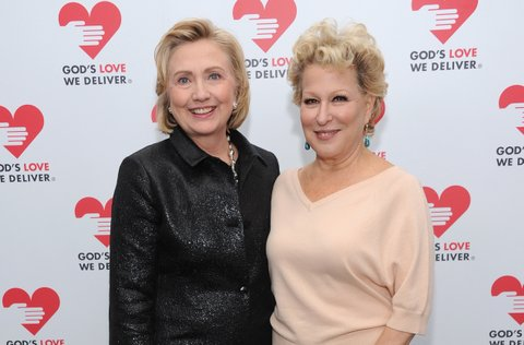 NEW YORK, NY - OCTOBER 16:  Hillary Rodham Clinton, recipient of the Michael Kors Award for Outstanding Community Service, and Bette Midler attend God's Love We Deliver 2013 Golden Heart Awards Celebration at Spring Studios on October 16, 2013 in New York City.  (Photo by Dimitrios Kambouris/Getty Images for Michael Kors)