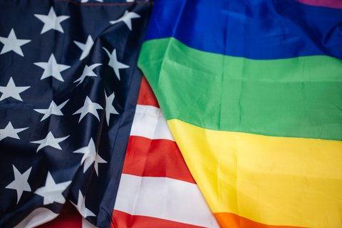Flags of Gay Pride and the United States of America