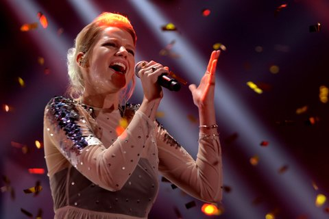 COLOGNE, GERMANY - FEBRUARY 09:  Isabella 'Levina' Lueen performs the winning title during the 'Eurovision Song Contest 2017 - Unser Song' show on February 9, 2017 in Cologne, Germany.  (Photo by Sascha Steinbach/Getty Images)