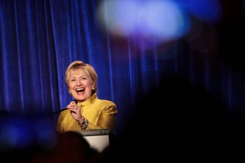 NEW YORK, NY - APRIL 20: Former U.S. Secretary of State Hillary Clinton takes the stage before speaking at the annual LGBT Center dinner, April 20, 2017 in New York City. Clinton was awarded the Trailblazer Award from the LGBT Center. (Photo by Drew Angerer/Getty Images)