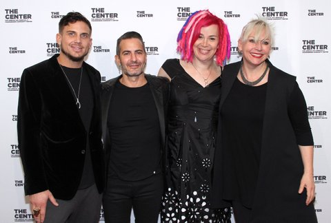 NEW YORK, NY - APRIL 20:   (L-R) Guest, Marc Jacobs, Lana Wachowski and Karin Winslow arrive for The Center Dinner 2017 to honor Hillary Rodham Clinton and Marc Jacobs at Cipriani Wall Street on April 20, 2017 in New York City.  (Photo by Donna Ward/Getty Images)