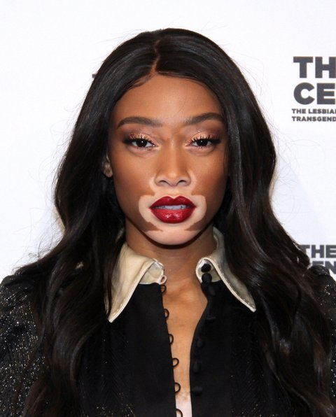 NEW YORK, NY - APRIL 20:  Winnie Harlow arrives for The Center Dinner 2017 to honor Hillary Rodham Clinton and Marc Jacobs at Cipriani Wall Street on April 20, 2017 in New York City.  (Photo by Donna Ward/Getty Images)