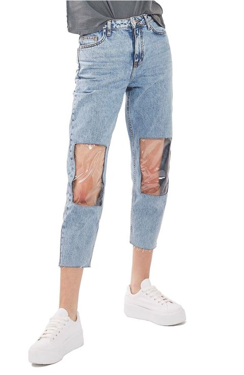 clear knees jeans