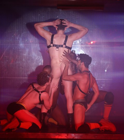 NEW YORK, NY - JANUARY 26:  (EDITORS NOTE: Image contains partial nudity.) Dancers performing in Broadway Bares: Winter Burlesque - Calendar Girl at XL Nightclub on January 26, 2014 in New York City.  (Photo by Walter McBride/Getty Images)