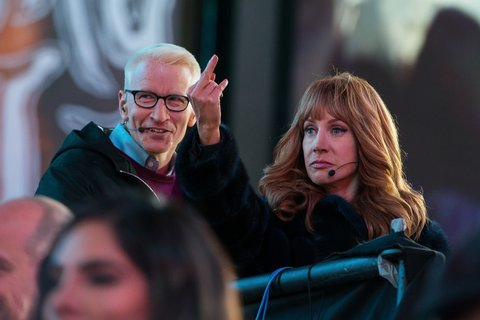 NEW YORK, NY - DECEMBER 31:  (EDITORS NOTE: Image contains profanity.) Anderson Cooper (L) and Kathy Griffin attend Dick Clark's New Year's Rockin' Eve with Ryan Seacrest in Times Square on December 31, 2015 in New York City.  (Photo by Michael Stewart/WireImage)