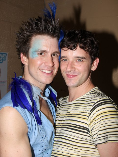 Gavin Creel and Michael Urie pose at BROADWDAY BARES 19.0: CLICK IT!on Broadway at Roseland on June 21, 2009 in New York City. (Photo by Bruce Glikas/FilmMagic)