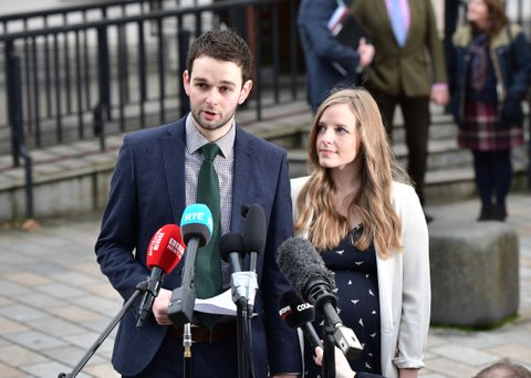 BELFAST, NORTHERN IRELAND - OCTOBER 24: Daniel McArthur (L), managing director of Ashers Bakery and his wife Amy McArthur (R) hold a press conference as they outside Belfast high court alongside family members for the so called 'Gay Cake' case verdict on October 24, 2016 in Belfast, Northern Ireland. Ashers Bakery, a local business in Northern Ireland run by an evangelical Christian family is appealing a decision at Belfast Magistrates court last year that found that they had discriminated against gay activist Gareth Lee. Mr Lee had ordered a cake to mark international day against homophobia featuring the Sesame Street characters Bert and Ernie and bearing a pro gay marriage message. Unlike the rest of the United Kindom or the Republic of Ireland same-sex marriage is not currently legal in Northern Ireland. Several attempts to change the law in the province have met with opposition from the largest political party, the Democratic Unionist Party. (Photo by Charles McQuillan/Getty Images)