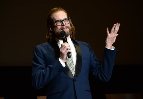 NORTH HOLLYWOOD, CA - APRIL 28:  Producer/showrunner Bryan Fuller speaks onstage during the American Gods FYC event at Saban Media Center on April 28, 2017 in North Hollywood, California.  (Photo by Michael Kovac/Getty Images for Starz)