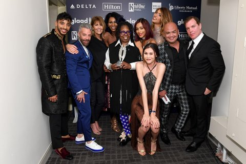 NEW YORK, NY - MAY 06:  Whoopi Goldberg (C) poses with the cast and crew of Oxygen's Strut backstage at the 28th Annual GLAAD Media Awards at The Hilton Midtown on May 6, 2017 in New York City.  (Photo by Dia Dipasupil/Getty Images for GLAAD)