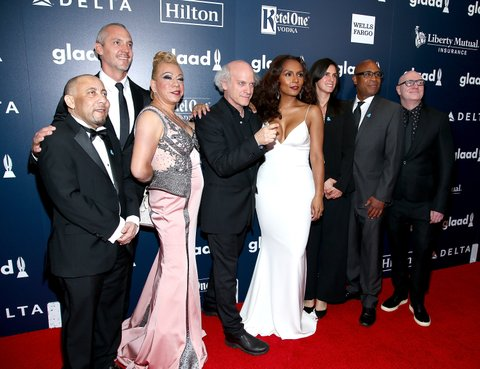 NEW YORK, NY - MAY 06:  The cast and crew of HBO's The Trans List attend the 28th Annual GLAAD Awards at New York Hilton Midtown on May 6, 2017 in New York City.  (Photo by Paul Zimmerman/WireImage)
