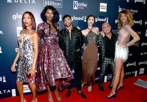 NEW YORK, NY - MAY 06:  (L-R) Isis King, Dominque Jackson, Laith De La Cruz, Ren Spriggs, Cecillio 'CeCe' Asuncion and Arisce Wanzer of 'Strut' attend the 28th Annual GLAAD Awards  at New York Hilton Midtown on May 6, 2017 in New York City.  (Photo by Paul Zimmerman/WireImage)